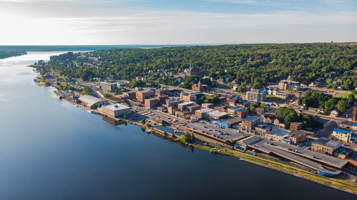 aerial drone photo of downtown houghton in the keweenaw peninsula